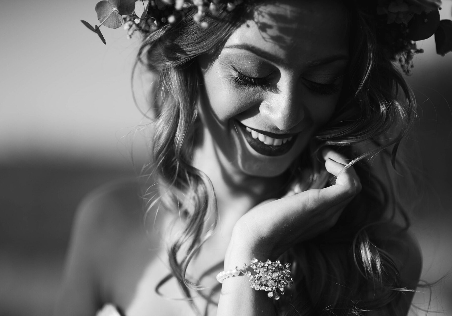 wedding, flower decorations in the hair of the bride